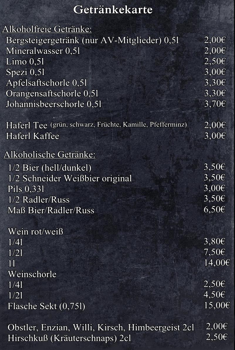 Getränkekarte – Tegernseerhuette.de